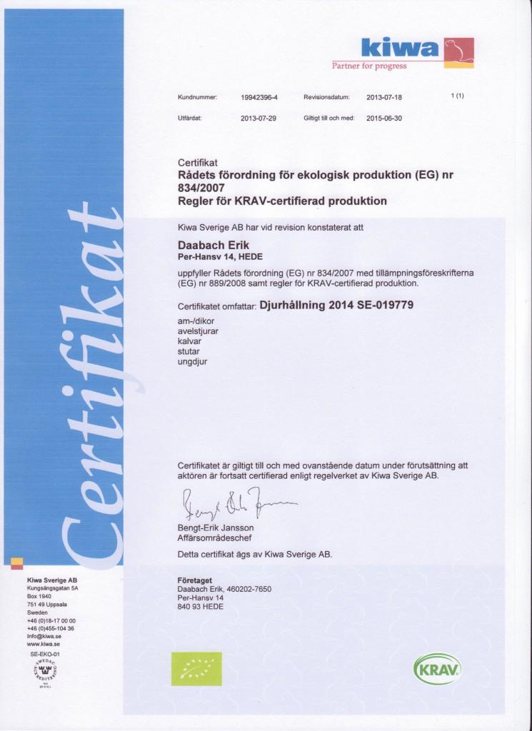 KRAV-certifiering djurhållning 2014